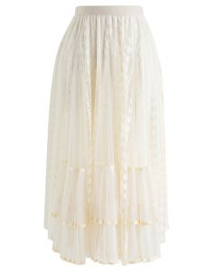 Lace Pleated Mesh Asymmetric Skirt in Cream