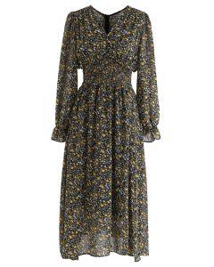 Floret Shirred Chiffon Midi Dress in Black