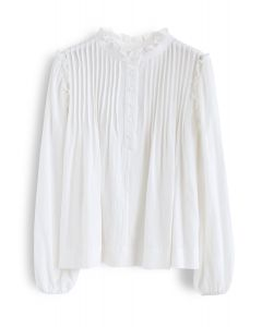 Ruffle Trim Buttoned Pleated Top in White
