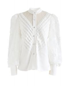 Mesh Inserted Floral Bubble Sleeves Buttoned Top in White