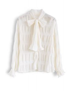 Shirred Bowknot Neck Sleeves Shirt in Cream