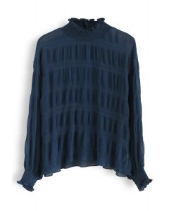 Mock Neck Shirred Sleeves Top in Indigo
