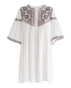 Flock Dots Boho Embroidered Tunic
