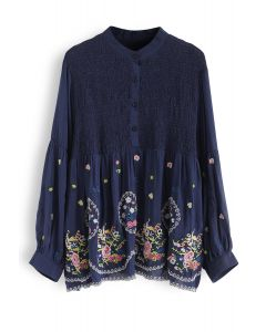 Floral Embroidered Shirred Tunic in Navy