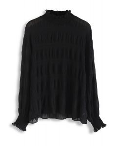 Mock Neck Shirred Sleeves Top in Black