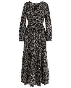 Summer Leaf Print Wrap Maxi Dress in Black