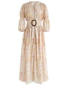 Golden Trees Printed V-Neck Buttoned Shirred Dress