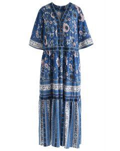 Boho Blossom Buttoned Maxi Dress in Blue