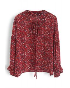 V-Neck Floret Sleeves Chiffon Top in Red
