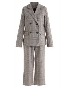 Double-Breasted Plaid Blazer and Pants Set