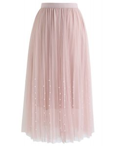 Pleated Double-Layered Mesh Tulle Pearls Skirt in Pink