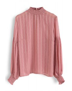 Flock Dots Puff Sleeves Shirred Top in Coral