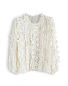 Semi-Sheer Crochet Shirred Top in Cream
