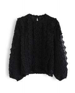 Semi-Sheer Crochet Shirred Top in Black