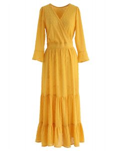 Flock Dots Wrapped Ruffle Maxi Dress in Mustard