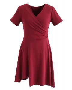 Wrapped Skater Dress in Red