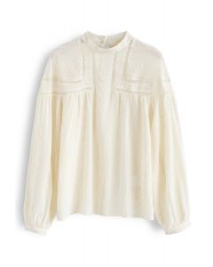 Embroidered Eyelet Detail Sheer Top in Cream