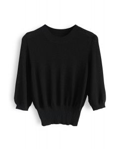 Round Neck Cropped Knit Top in Black