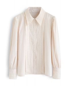 Button Down Crochet Trim Shirt in Cream