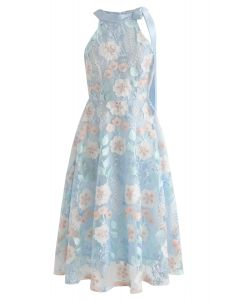 Look at the Flowers Embroidered Mesh Midi Dress