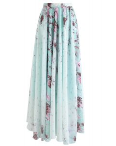 Greenery Watercolor Maxi Skirt