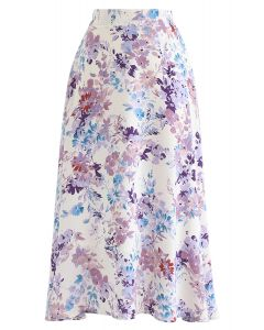 Blooming Season Watercolor Chiffon A-Line Midi Skirt in Lilac