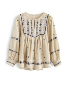 Embroidered Hi-Lo Boho Dolly Top in Light Tan