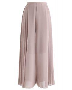 Pleated Wide-Leg Chiffon Pants in Dusty Pink
