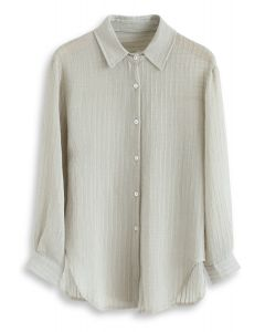 Stripe Texture Button Down Sleeves Shirt in Pea Green