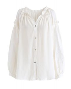 Button Down Embroidered Loose Shirt in Ivory