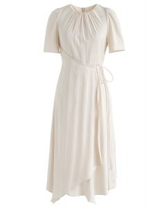 Subtle Stripe Asymmetric Dress in Cream