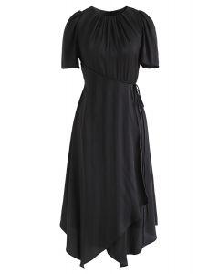 Subtle Stripe Asymmetric Dress in Black
