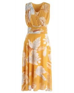 Mustard Tropical Leaf Pleated Sleeveless Chiffon Dress