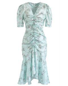 Flounced Hem Drawstring Floral Dress in Mint