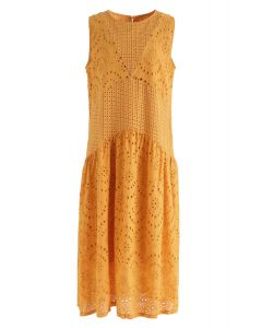 Mustard Perforated Embroidered Sleeveless Dress