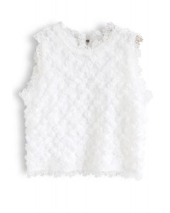 3D Roses Full Lace Sleeveless Top in White