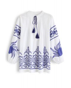 Indigo Boho Embroidery V-Neck Tunic
