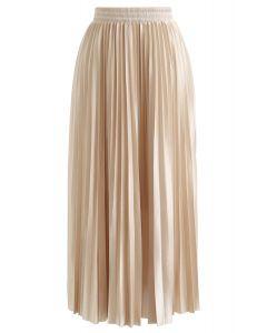 Full Pleated Midi Skirt in Champagne