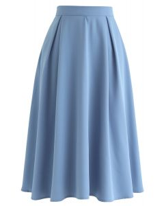 Side Zip Pleated A-Line Midi Skirt in Blue
