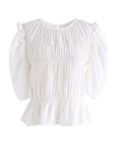 Ruffle Shirred Round Neck Top in White