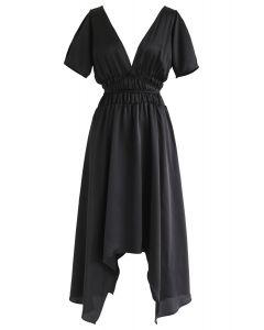 Plunging V-Neck Shirred Asymmetric Dress in Black