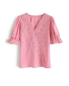 Slanted Embroidery Button Down Top in Hot Pink