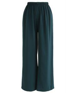 Sleek Wide-Leg Buttoned Crop Pants in Emerald