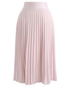 Satin Full Pleated Midi Skirt in Pink