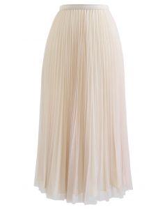 Reversible Pleated Midi Skirt in Sand