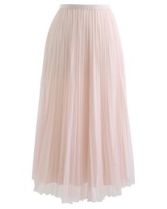 Reversible Pleated Midi Skirt in Pink