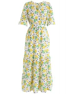Lemon Print Frilling Wrapped Dress