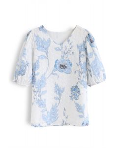 Blue Floral Printed Eyelet Embroidered V-Neck Top