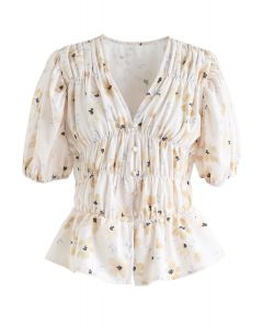 Floral Button Down Shirred Top in Beige