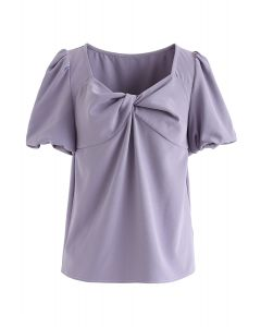 Bubble Sleeves Twisted Top in Purple